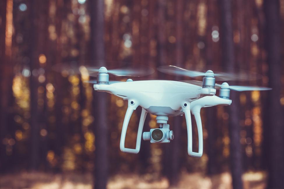 camera drone in air